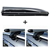 MENABO Dachbox 460 Liter Relingträger Alu kompatibel mit Dacia Logan Kombi/MCV ab 04 abschließbar